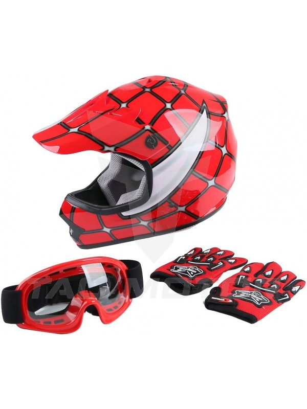 Kid Offroad Motorcycle Helmet w/ Glove & Goggle